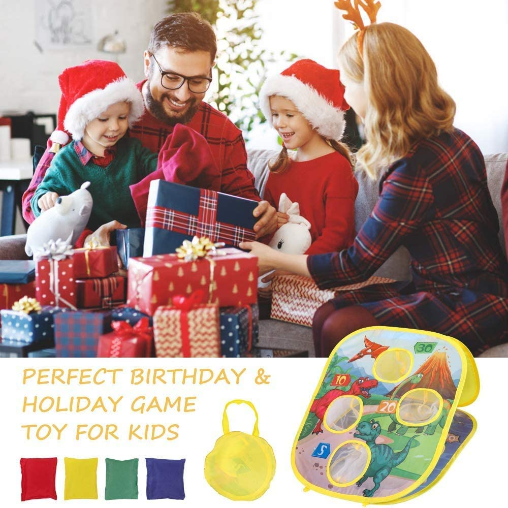 Bean Bag Toss Game Toys for Kids 3 4 5 6 Year Old Boys Girls Toddler Toys Age 2-4 Party Birthday Christmas Festival Gifts for Kids 3-8 Year Old Boy Toys Collapsible Double Sided Toys with 8 Beanbags