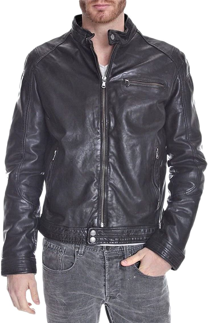 Mens Leather Jacket Slim Fit Biker Motorcycle Genuine Lambskin Jacket Coat T1433