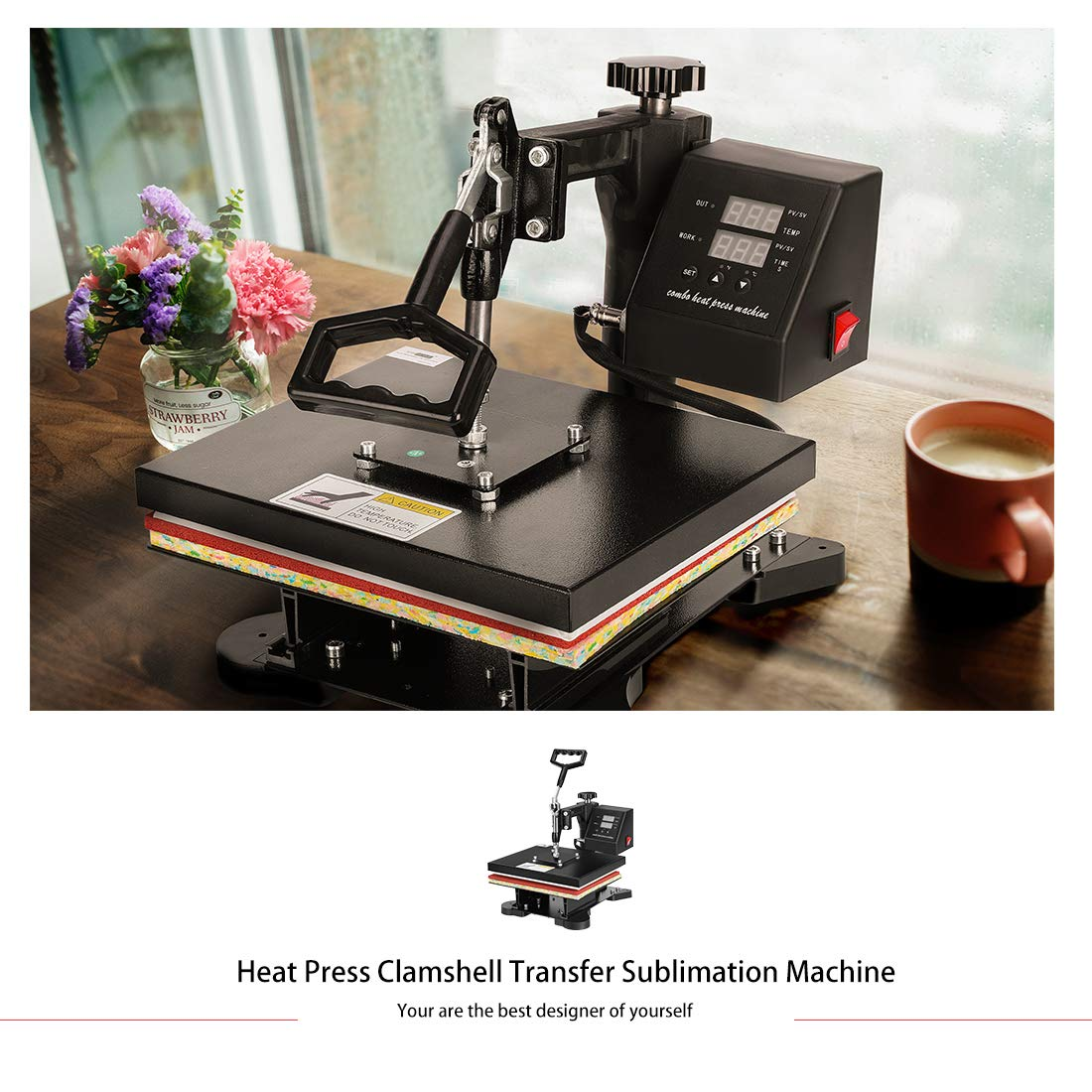 VIVOHOME 5 in 1 Swing Away Clamshell Heat Press Machine for T-Shirt Hat Cap Mug Plate 15 x 12 Inch