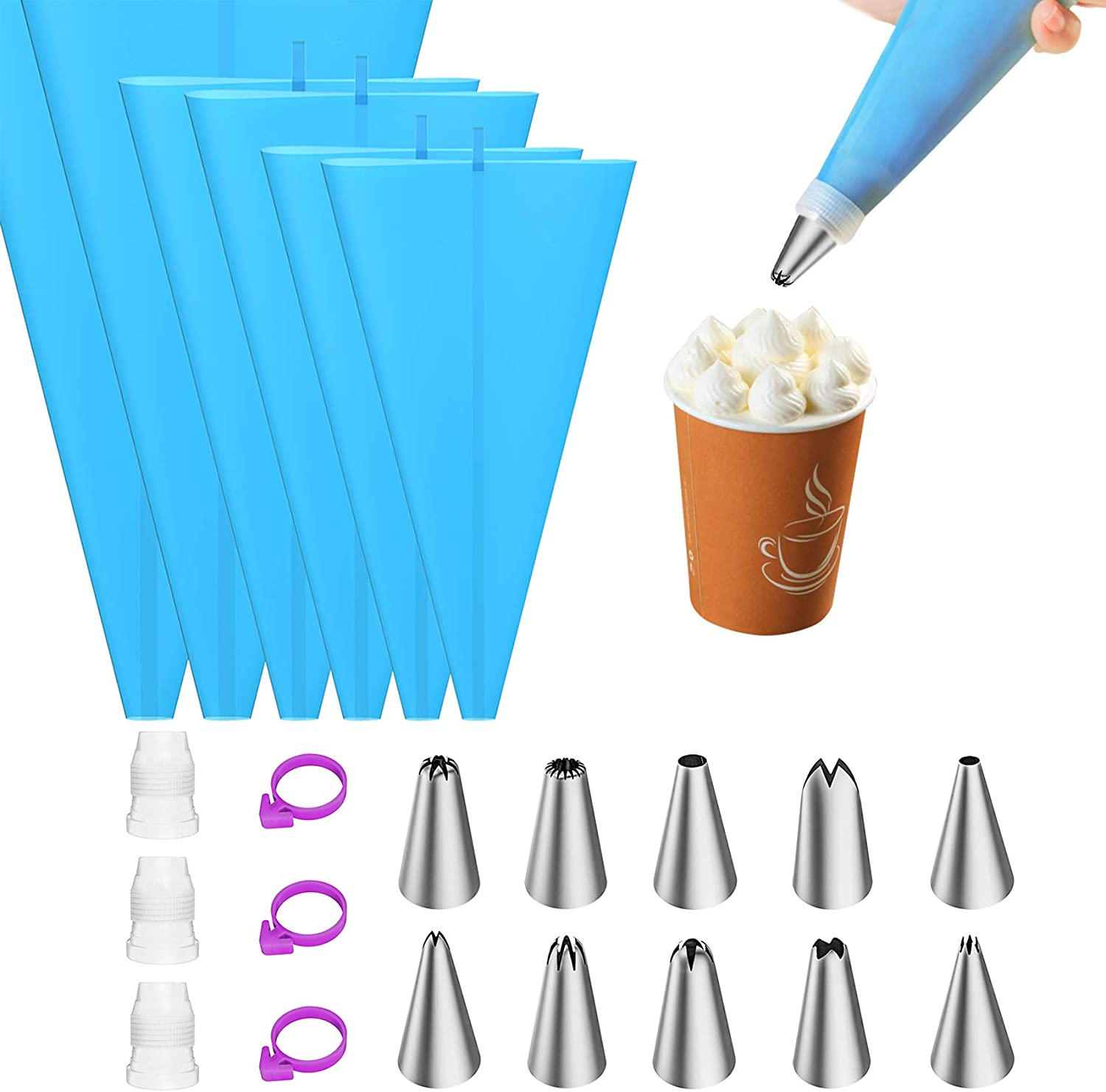Ouddy 6Pcs Silicone Piping Bags, Pastry Icing Piping Bags, Reusable Piping Bags and Tips Set with 3 Icing Bags Ties, 10 Frosting Tips, 10 Disposable Piping Bags and 1 Cleaning Brushes (12''+14''+16'')