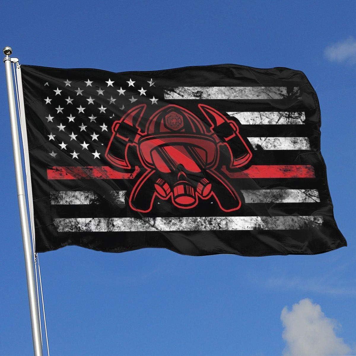 EROOU8W Thin Red Line Firefighter Home Decoration Garden Logo 3x5 Feet Canvas Flag