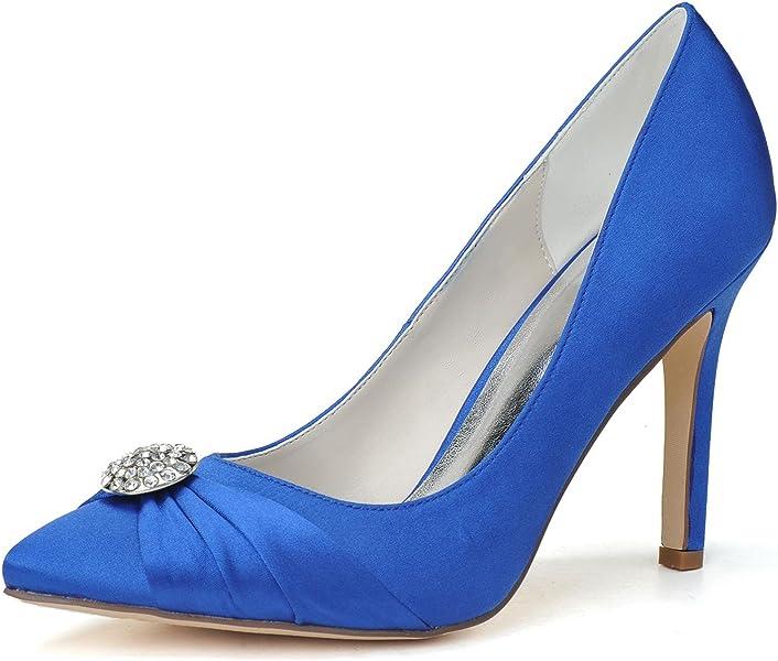 4a5ea8cd7a37 Elobaby Femmes Chaussures De Mariage Plateforme en Satin Escarpins Modernes  Sandales À La Cheville Sexy (
