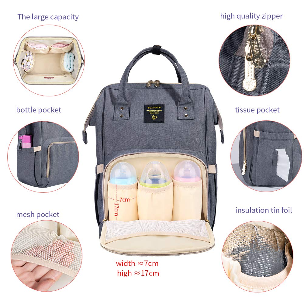 SUNVENO Baby Diaper Bag Backpack Mommy Maternity Nappy Bag Large Travel Insuated Backpack Nursing Bag for Baby Care (Gray) by SUNVENO (Image #3)