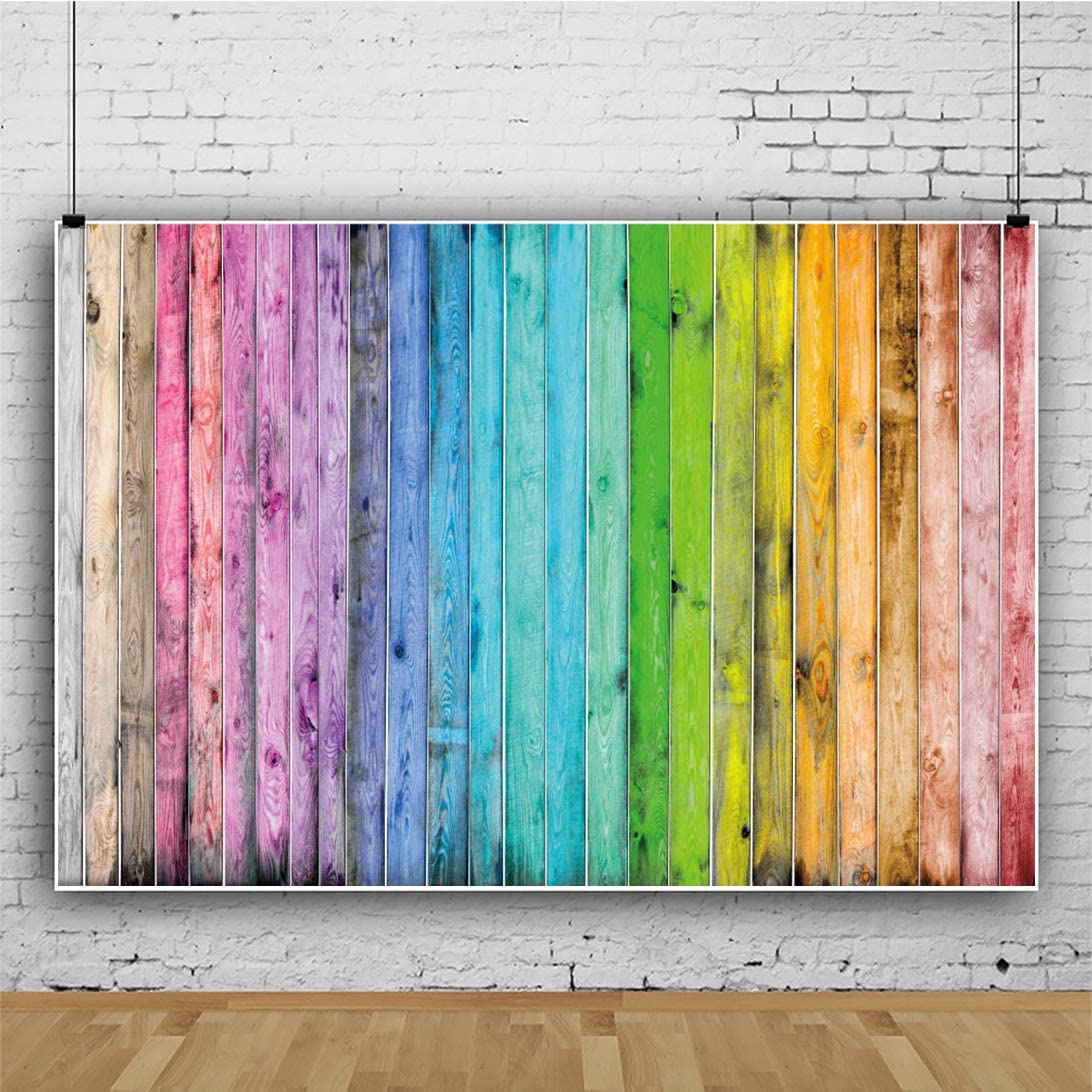 AOFOTO 10x8ft Colorful Wood Fence Panel Backdrop Multicolored Wooden Wall Abstract Art Background 1st Birthday Party Candy Cane Table Decor Baby Kid Girl Boy Pet Portrait Photoshoot Props Vinyl