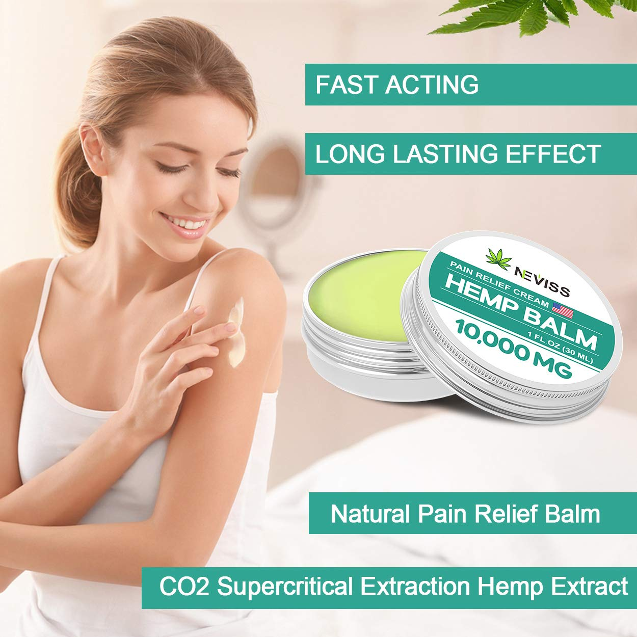 Organic Hemp Balm for Pain Relief 20000 MG (2 Pack), Natural Hemp Pain Relief Cream for Back, Knee, Neck, Nerve & Joint Pain - Premium Hemp Herbal Extract Balm for Inflammation & Sore Muscles