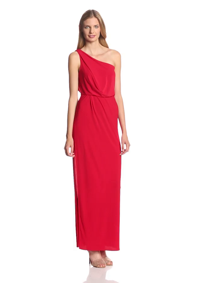 Hailey by Adrianna Papell Women's 1 Shoulder Knot Slit Dress, Red, 4