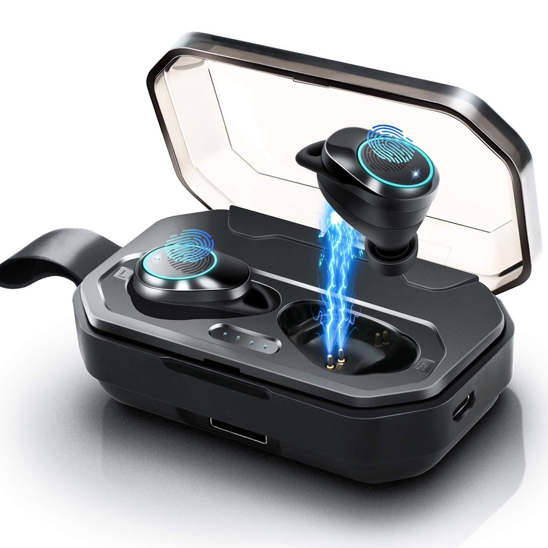 [2019 Update Version] Wireless Earbuds, Jurgen K Latest Bluetooth 5.0 True Wireless Earbuds IPX7 Waterproof Stereo Sound in-Ear Sports Wireless Headphones with 3000mAH Charging Case