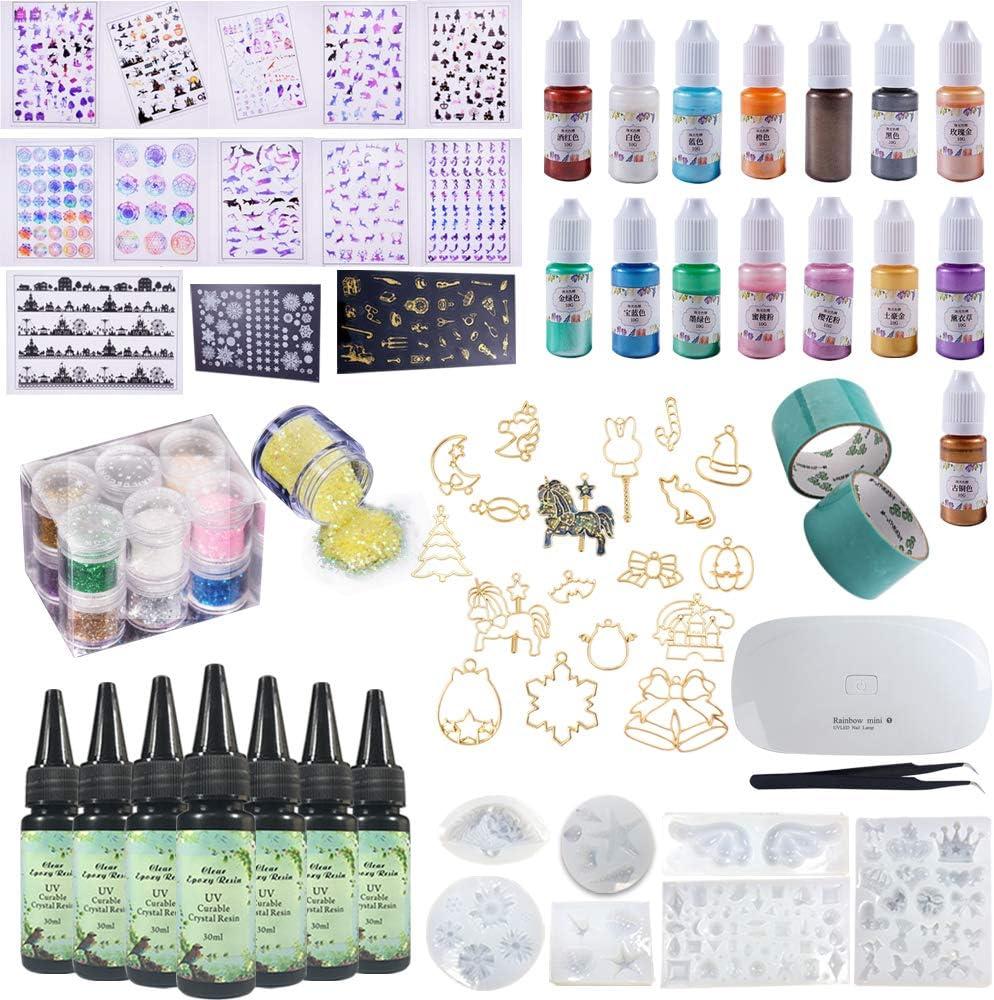 Kit Resina para DIY Joyas Manualidades con Pigmento de Colores + Moldes de Silicona + Biseles Huevo + Hojas Plantillas con Patrones Decorativos para Decoración + Brillo + Pinzas + Lámpara UV Portátil