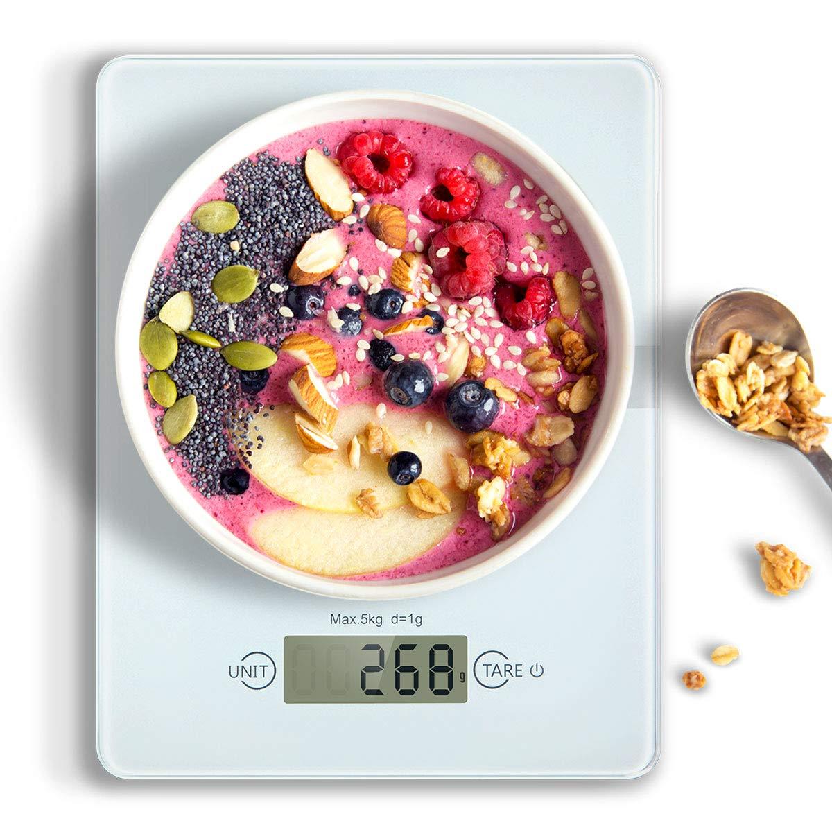 Báscula Digital de Cocina, HAMSWAN Balanza de Alimentos Multifuncional en Vidrio Templado, Báscula Electrónica para Cocinar, 5kg / 11 lbs Fácil de Limpiar Incluyendo Pila de Botón, Smart Weigh Ultradelgada, Peso de Cocina