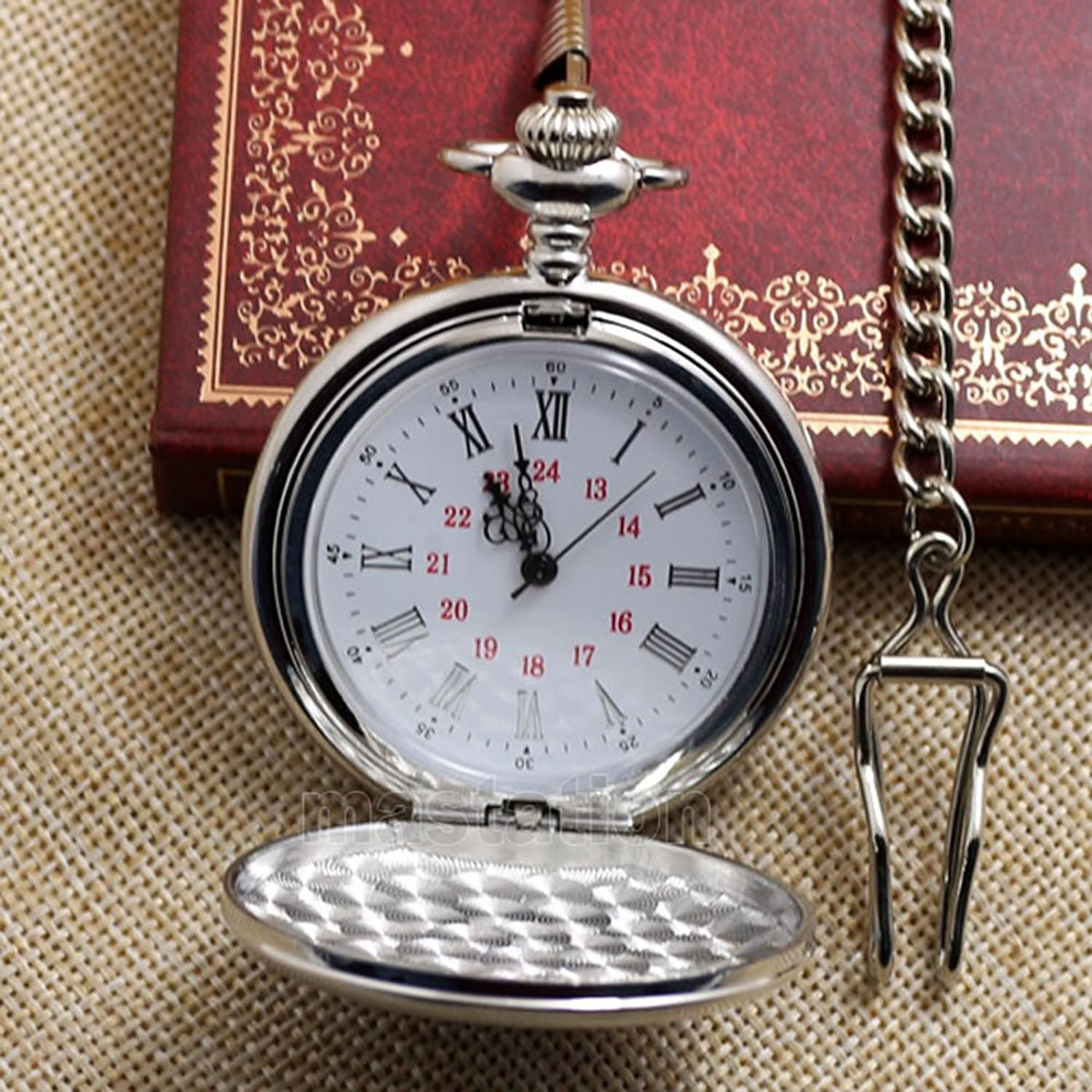 Men's Steampunk Clothing, Costumes, Fashion WIOR Classic Smooth Vintage Pocket Watch Sliver Steel Men Watch with 14'' Chain for Xmas Fathers Day Gift $9.99 AT vintagedancer.com
