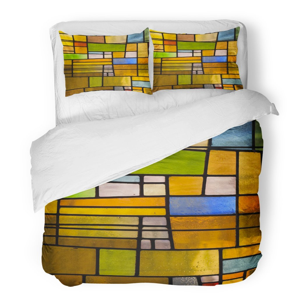 SanChic Duvet Cover Set Green Color Multicolored Stained Glass Church Window Portrait Orientation Orange Mosaic Decorative Bedding Set with 2 Pillow Shams Full/Queen Size