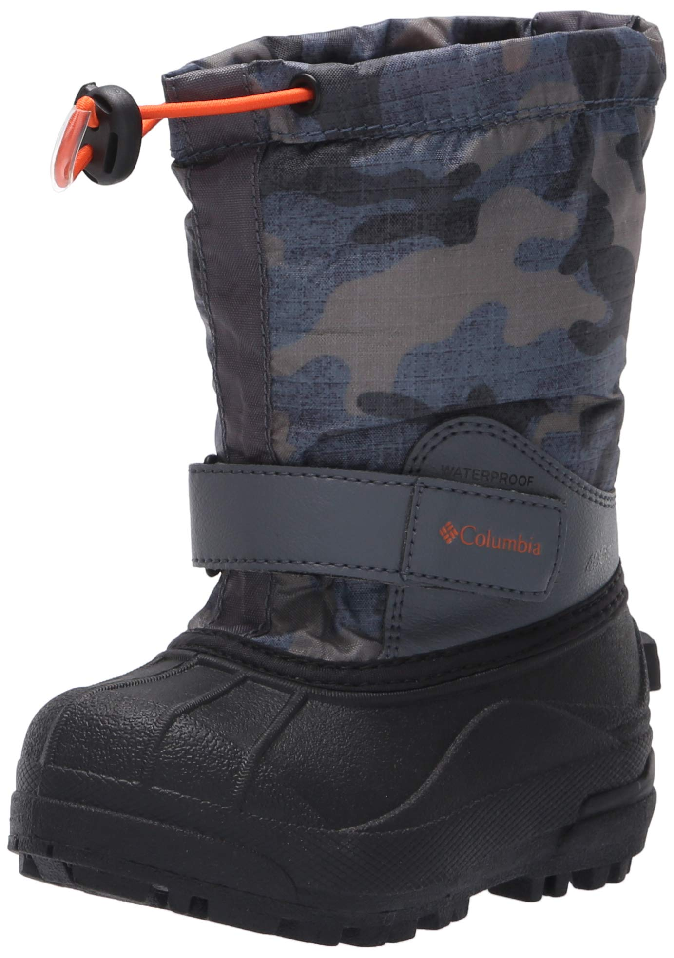 Columbia Boys' Childrens Powderbug Forty Print Snow Boot, Graphite, Heatwave, 8 Regular US Little Kid by Columbia (Image #1)