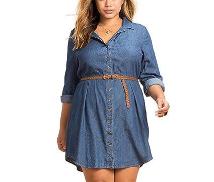 Nelliewins Plus Size Fashion Women Dress Casual Loose Dress Long