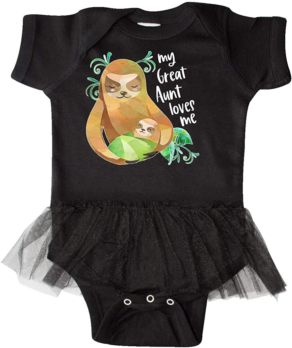 inktastic My Great Aunt Loves Me Cute Sloth and Baby Infant Tutu Bodysuit