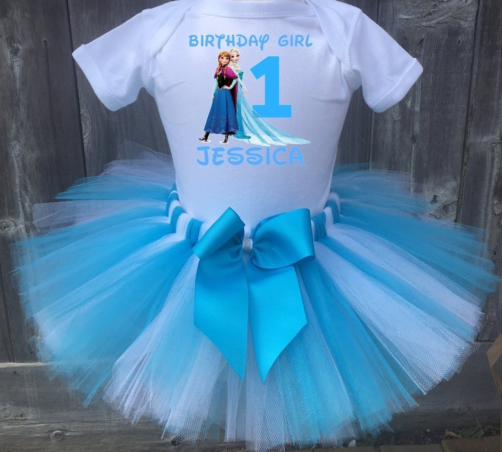 Frozen Elsa And Anna Princess Personalized Birthday Outfit Tutu Set