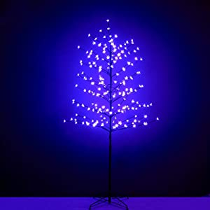 Snokip 6Ft 208 LED Lighted Cherry Blossom Tree, Decorate Home Garden, Wedding, Birthday, Christmas Holiday, Party, for Indoor and Outdoor Use, Purple, 1 Pack