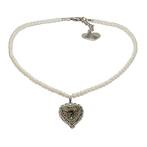 Schmuck für Dirndl Hochzeit Filigrane Halskette mit Strass Herzen und Perlen