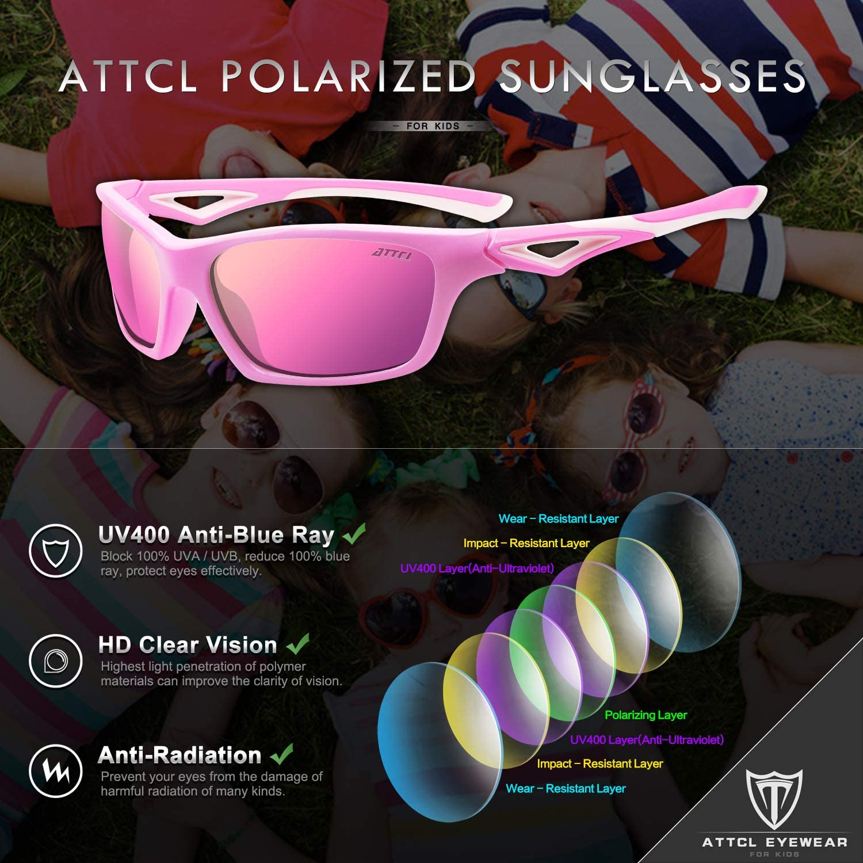 ATTCL TR90 Flexible Polarized Sport Kids Sunglasses For Boys Girls Age 3-10 Child