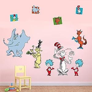 Runtoo Dr Seuss Wall Decals Kids Educational Wall Stickers Children Reading Room Baby Nursery Wall Décor