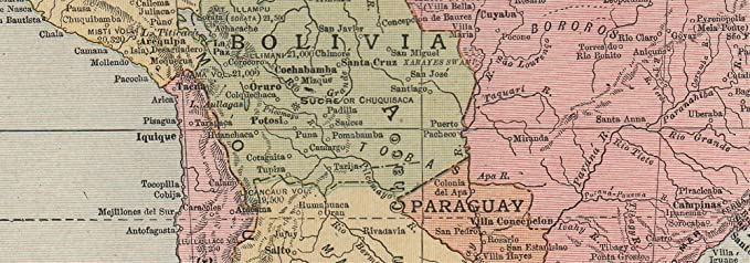 SOUTH AMERICA  Paraguay-Bolivia border pre Chaco War  RAND