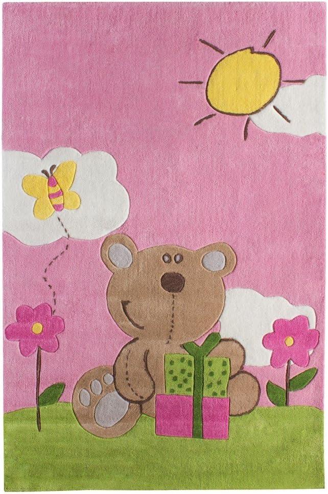 andiamo Kinderteppich Happy Bear in Rosa strapazierf/ähig /& pflegeleicht Spielteppich Gr/ö/ße:160 x 230 cm