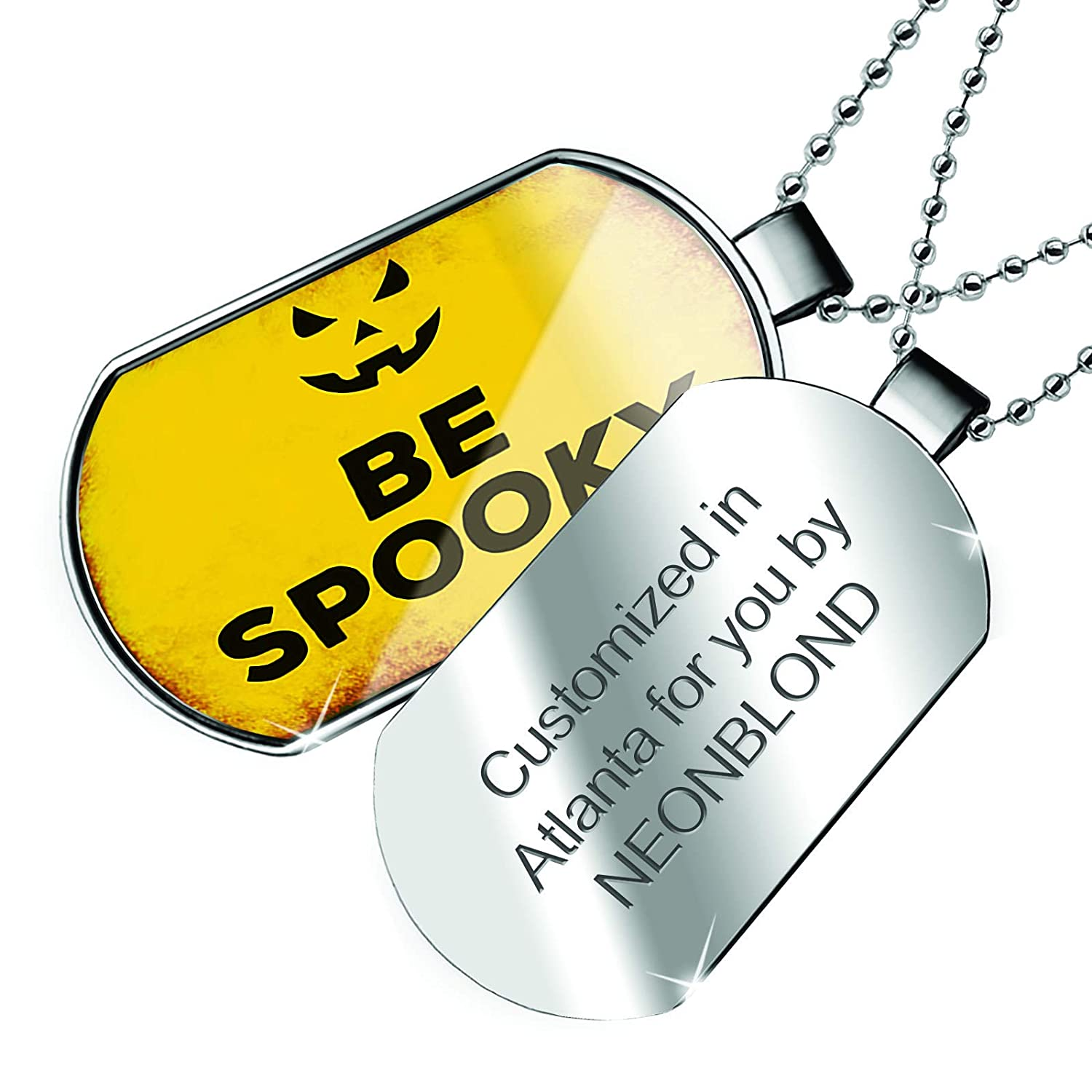 NEONBLOND Personalized Name Engraved Be Spooky Halloween Jack-O-Lantern Dogtag Necklace