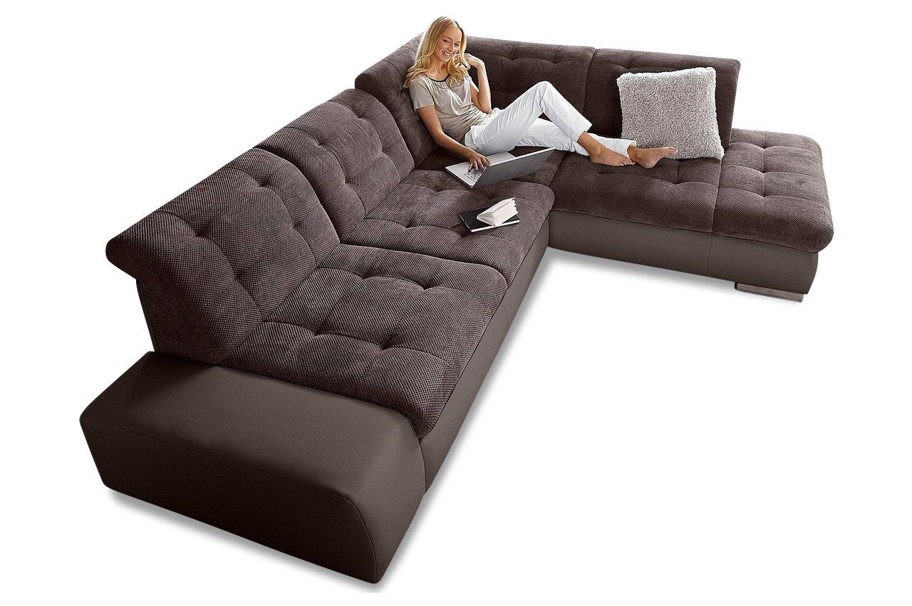 Sofa Ecksofa XL Pale - Braun - Luxus-Kunstleder / Webstoff Braun