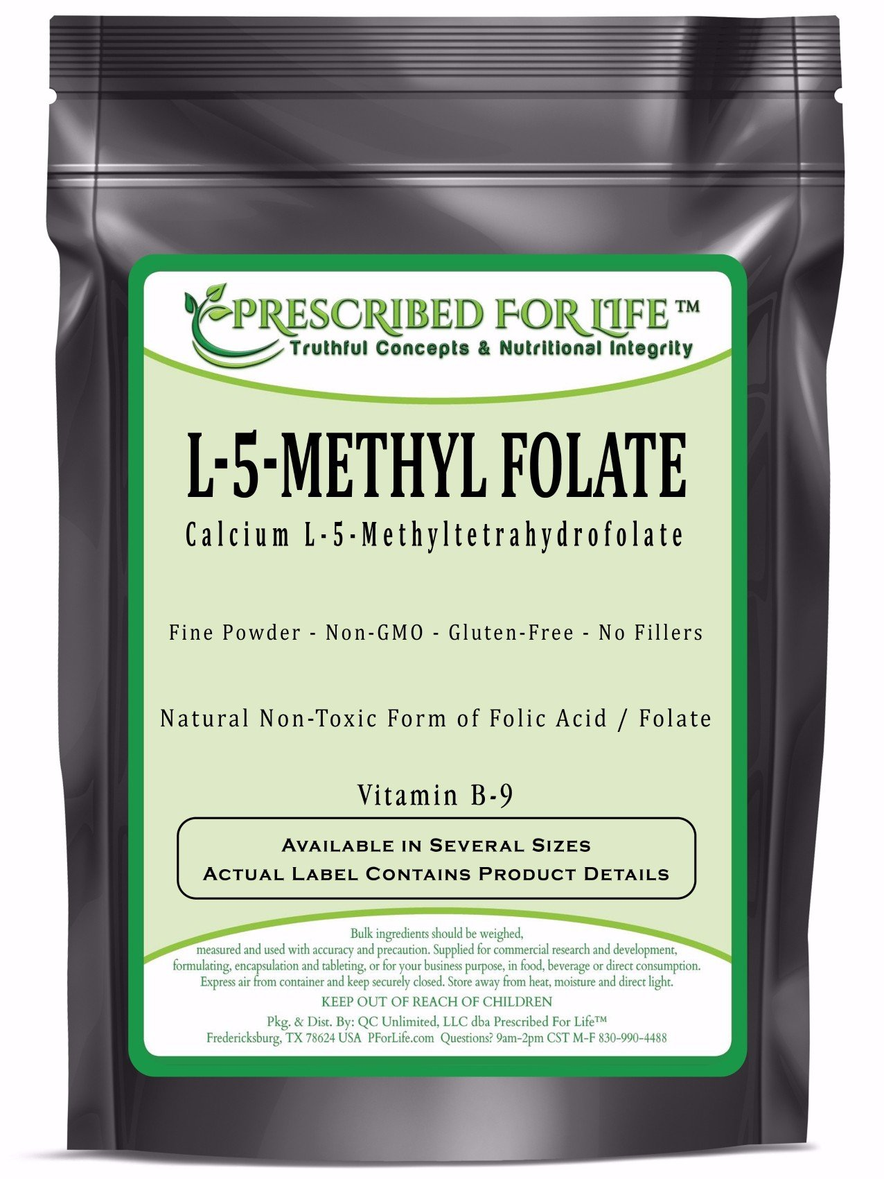 MethylFolate (L) - Natural 5-MethylTetraHydroFolate Vitamin B-9 Pure Folic Acid Powder, 1 oz