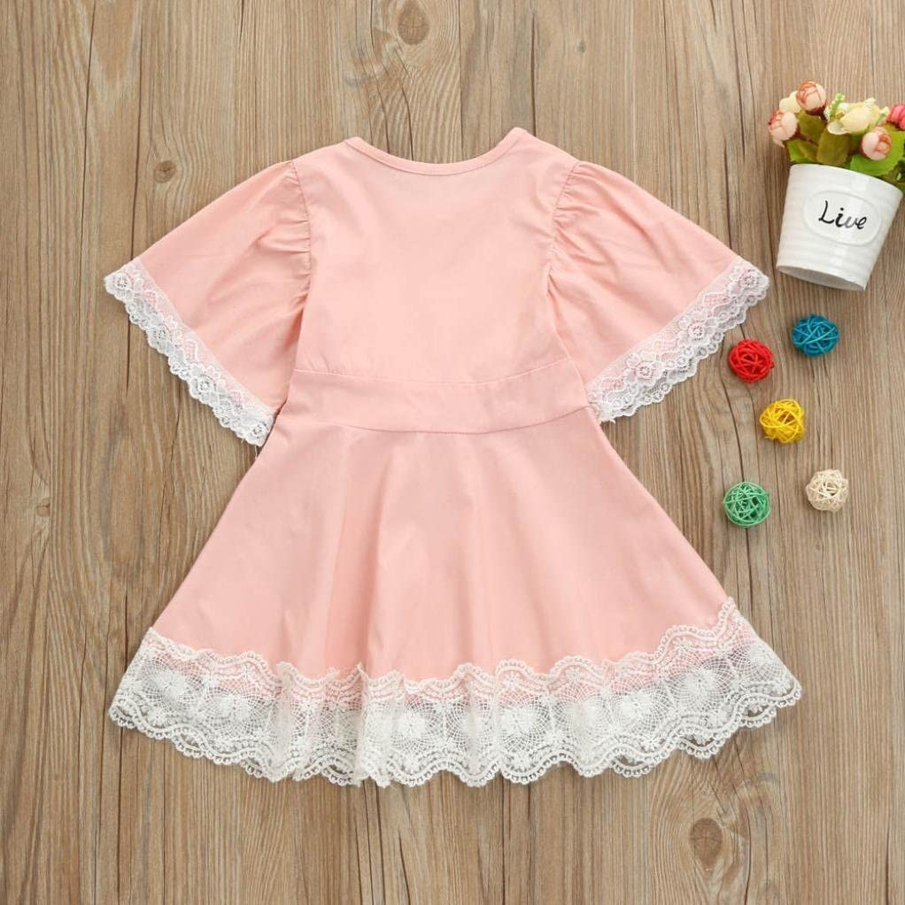 Vicbovo Little Girls Dresses Kids Toddler Baby Cute Lace Trim Short Sleeve Princess Party Flare Dress Summer Clothes