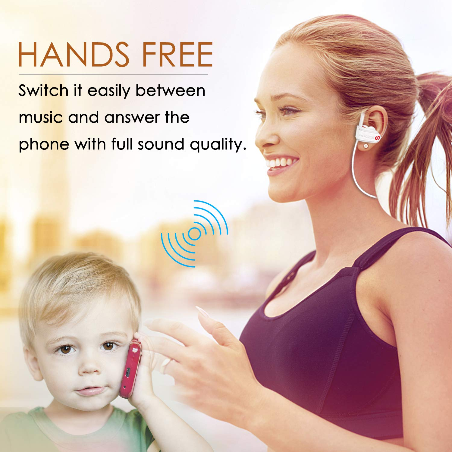Auriculares Bluetooth HBUDS Bluetooth 4.1 Auriculares Deportivos Inalámbricos, IPX7 Impermeable Estéreo In-Ear Auriculares con Micrófono, ...