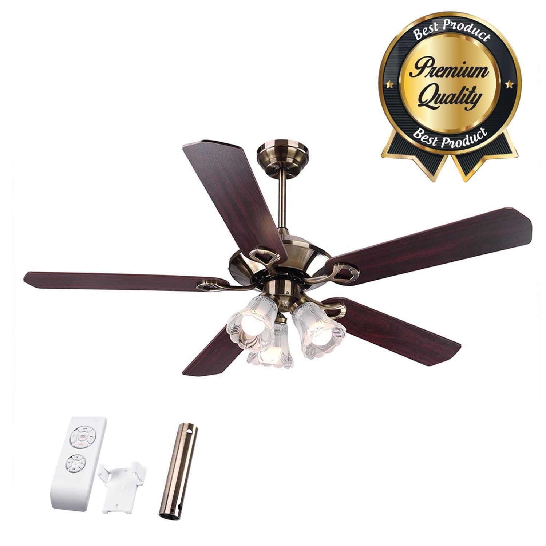 Koval Inc. 5-Blade Ceiling Fan w Light & Remote (52'', Bronze)