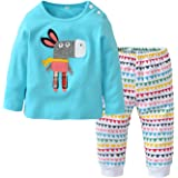 Baby Girls Clothes Set 2 Piece Long Sleeve Cartoon Pattern Infant Outfits