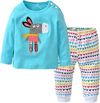 Baby Girls Clothes Set 2 Piece Long Sleeve Cartoon Pattern Toddler Outfits