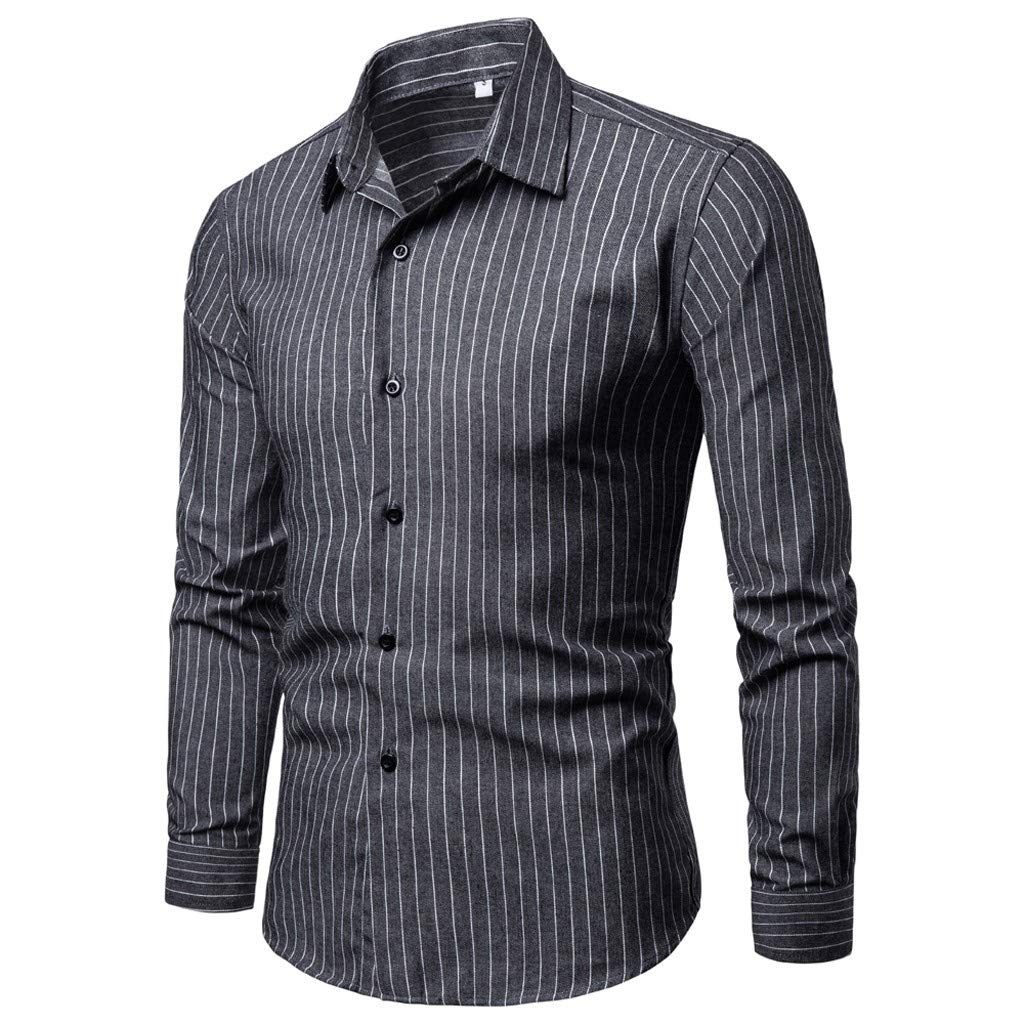 SFE Fashion Shirts,Mens Slim Fit Personality Stripe Casual Long Sleeve Shirts Blouse