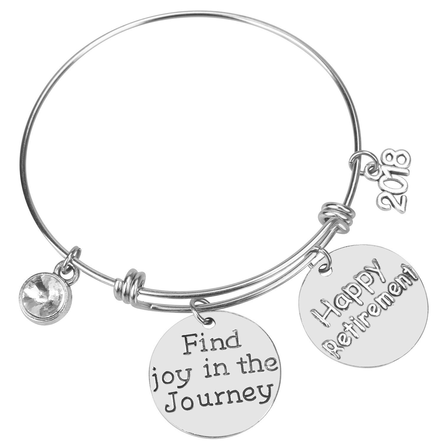 Alxeani Happy Retirement 2018 Find Joy in The Journey Expandable Silver Charm Bracelet Adjustable Bangle Office Worker Gift Retire