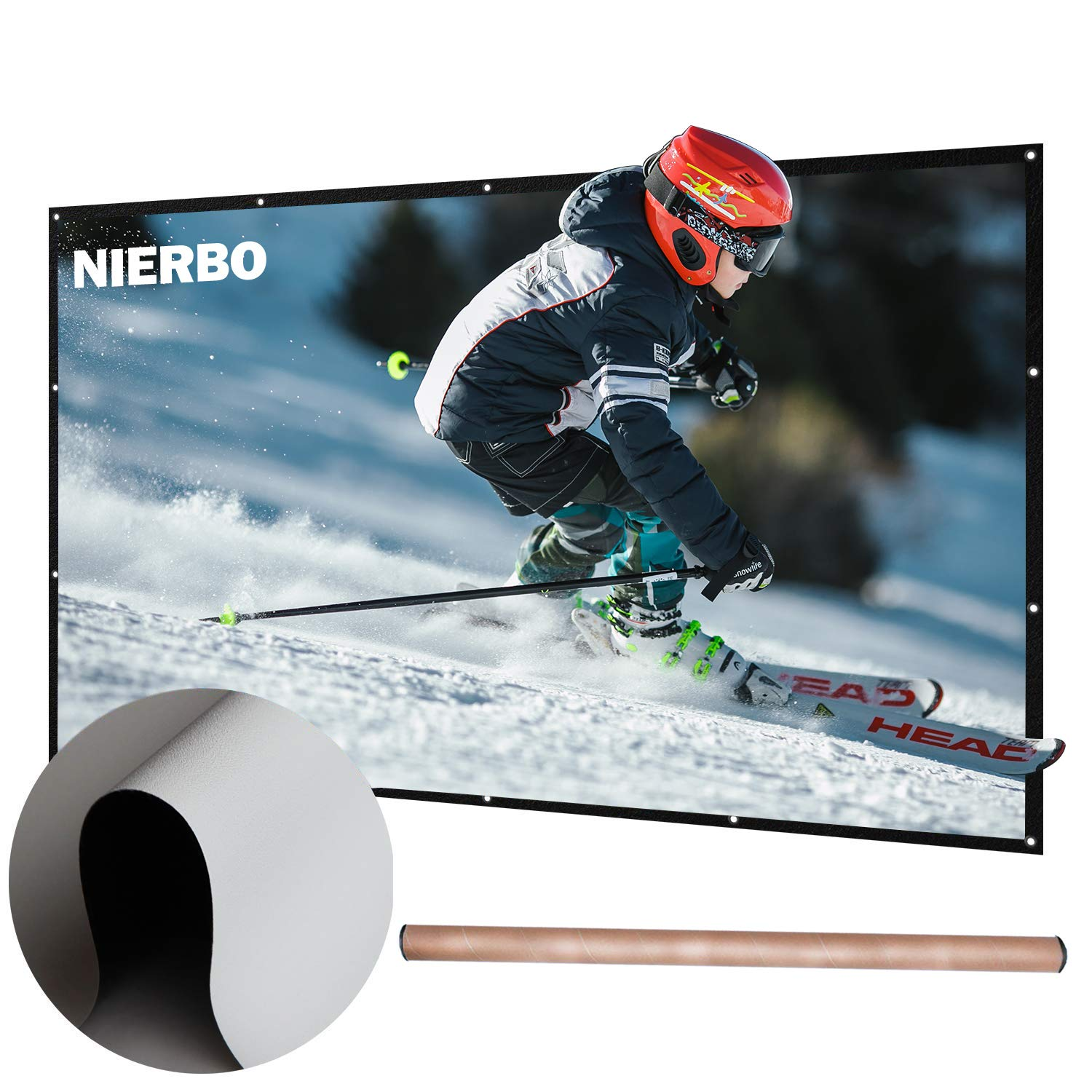 100 inch Projector Screen Rolled Up Portable Screen for Outdoor Indoor 4K Full HD Projection Screen Wrinkles Free NIERBO JS100C1