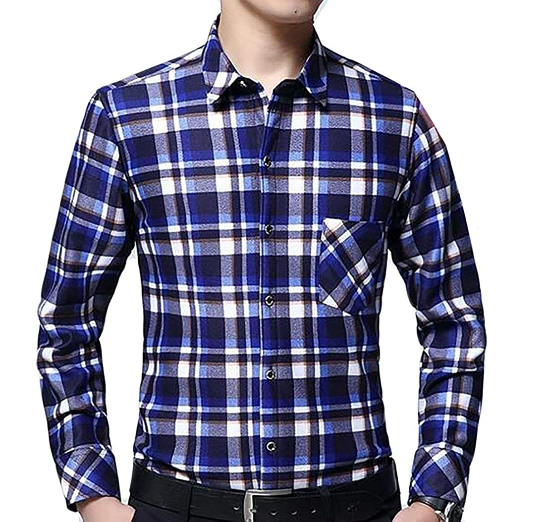 Alion Mens Thicken Long Sleeve Plaid Button Down Shirt Contrast Color Block Pattern 3 M