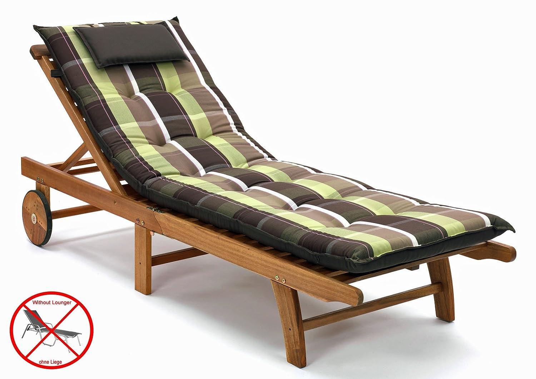 Auflagen für Liegen mit Kopfpolster Miami 90511-600 in braun grün kariert (ohne Liege) Möbelträume