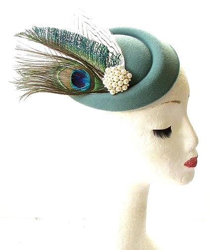 Sage verde y blanco plumas de pavo real pastillero sombrero carreras tocado de cabeza VTG 1833