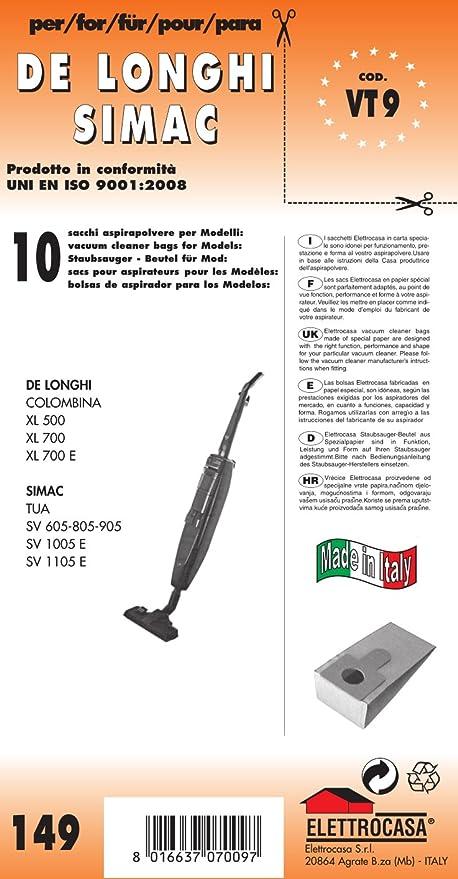 Colombina 1600 De Longhi.Vt 9 Sacchetti Per Scopa Elettrica Confezione Da 10 Sacchi