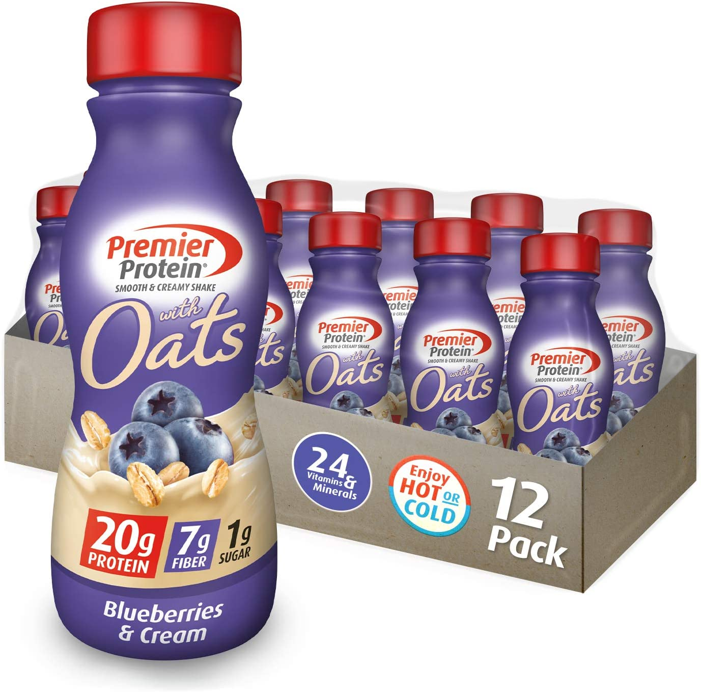 Premier Protein 20g Protein Shake with Oats, Blueberries & Cream, 11.5 Fl Oz Bottle, (12Count)