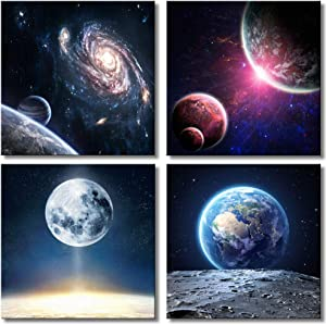 Giveaway: CANVASZON Wall Art Outer Space Planet Galaxy Wall Painting…