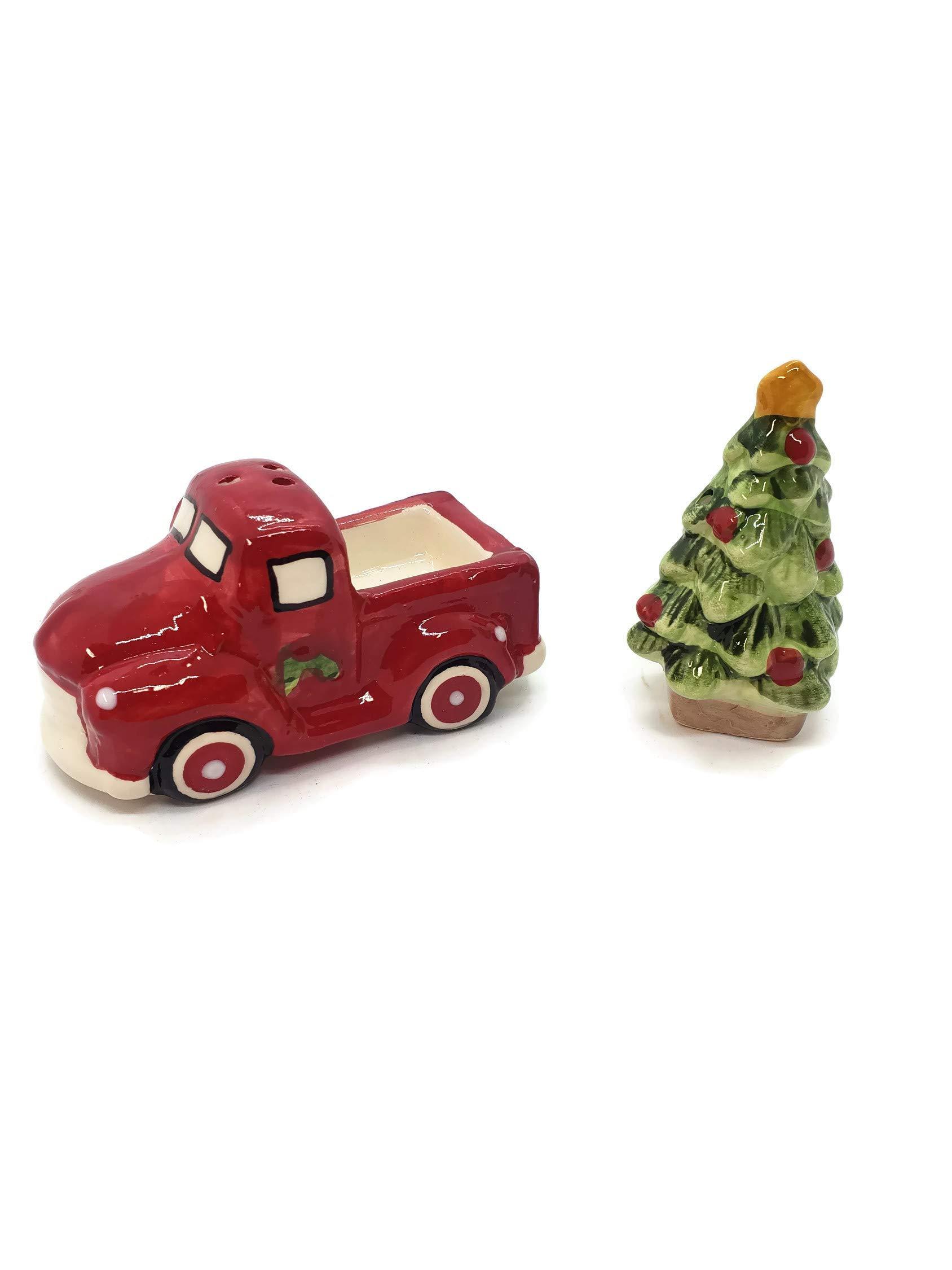 Hanna's Handiworks Christmas Tree Red Farm Truck Salt & Pepper Set - Christmas Red Farm Truck Decorations