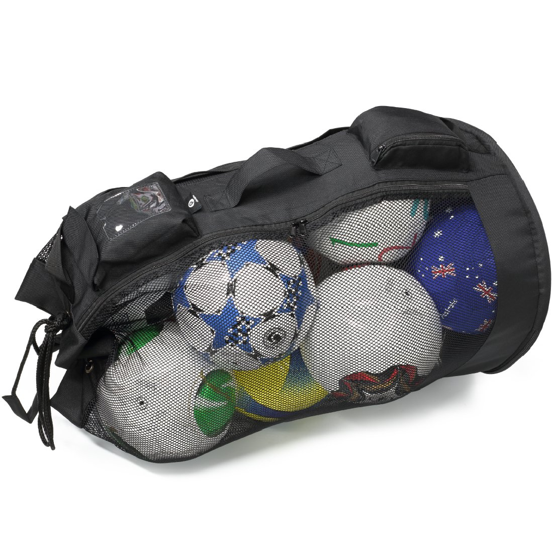 PP PICADOR Mesh Equipment Bag for Soccer Ball Drawstring and Zipper, Sports Mesh Ball Bag Oversize Duffle Reinforced Bottom Folding Portable by PP PICADOR (Image #1)
