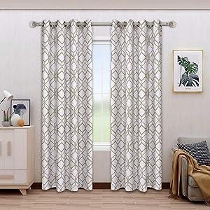 BONZER Linen Textured Diamond Print Curtains - Light Filtering Grommet Window Drapes for Bedroom, Living Room, 52 x 84 Inch, Khaki, Set of 2 Panels