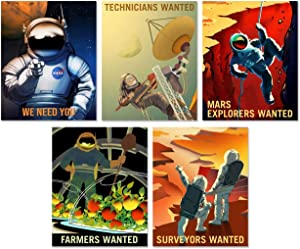 NASA Mars Recruitment Space Wall Decor - Set of five 8x10 Glossy Prints - Perfect Future Planet Travel Room Art Posters