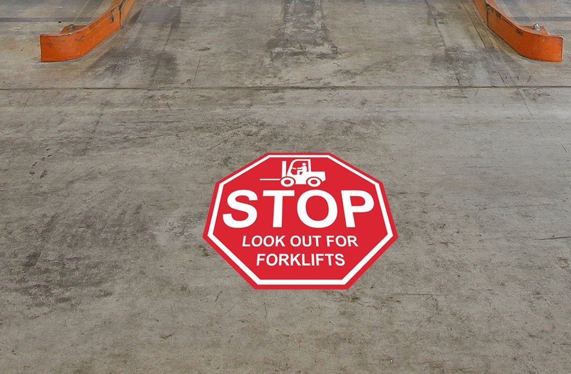 "''Stop Look Out for Forklifts"" – 12in Durable Floor Sign by Graphical Warehouse Vibrant Colors - Safety and Security Signage. Red Octagon."