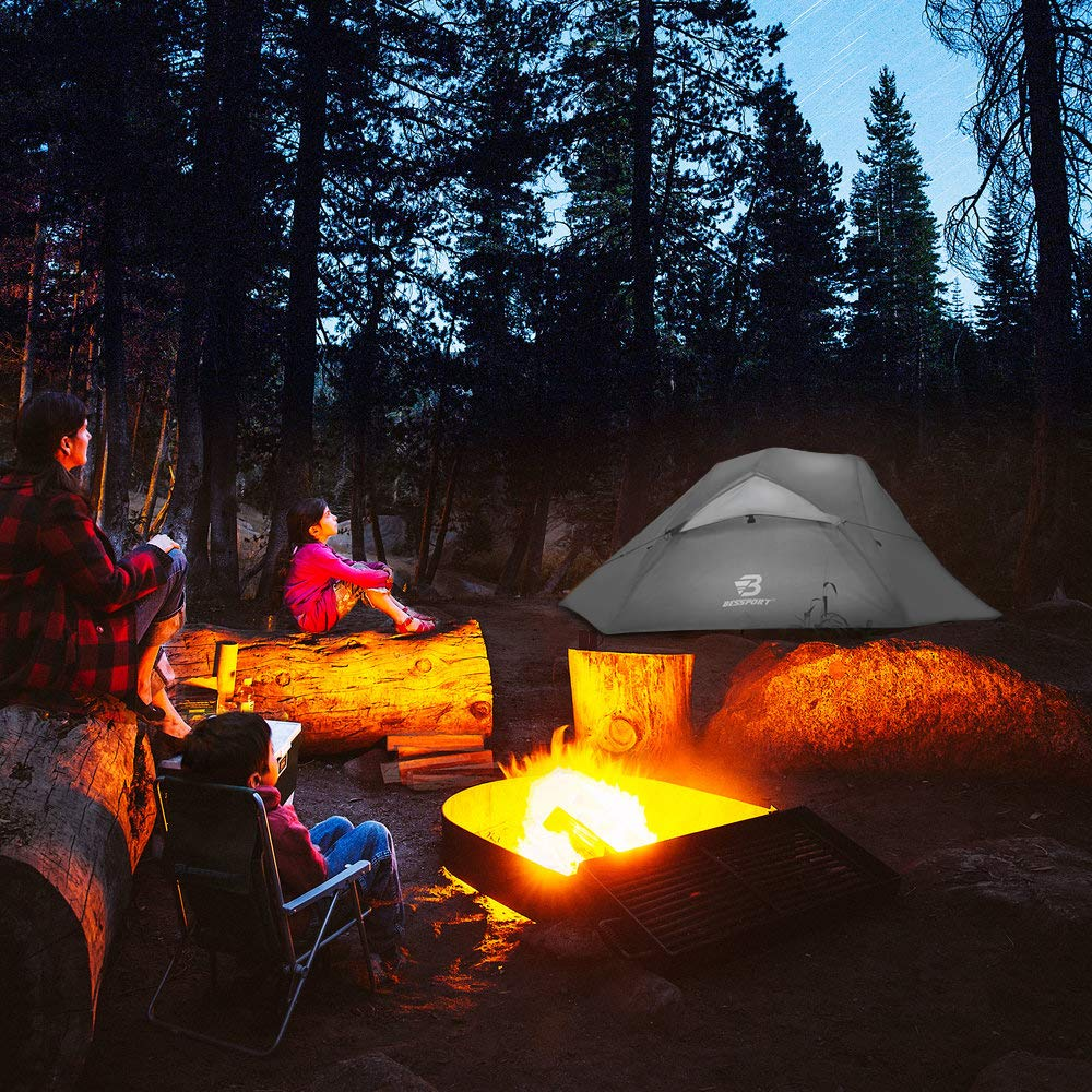 Festival 3-4 Saison Camping Zelte Wasserdicht PU 3000MM+ Zwei T/üren mit Gro/ß Mesh Fenster 2 Mann Zelt Kleines Packma/ß f/ür Trekking Outdoor Bessport Zelt 2 Personen Leicht