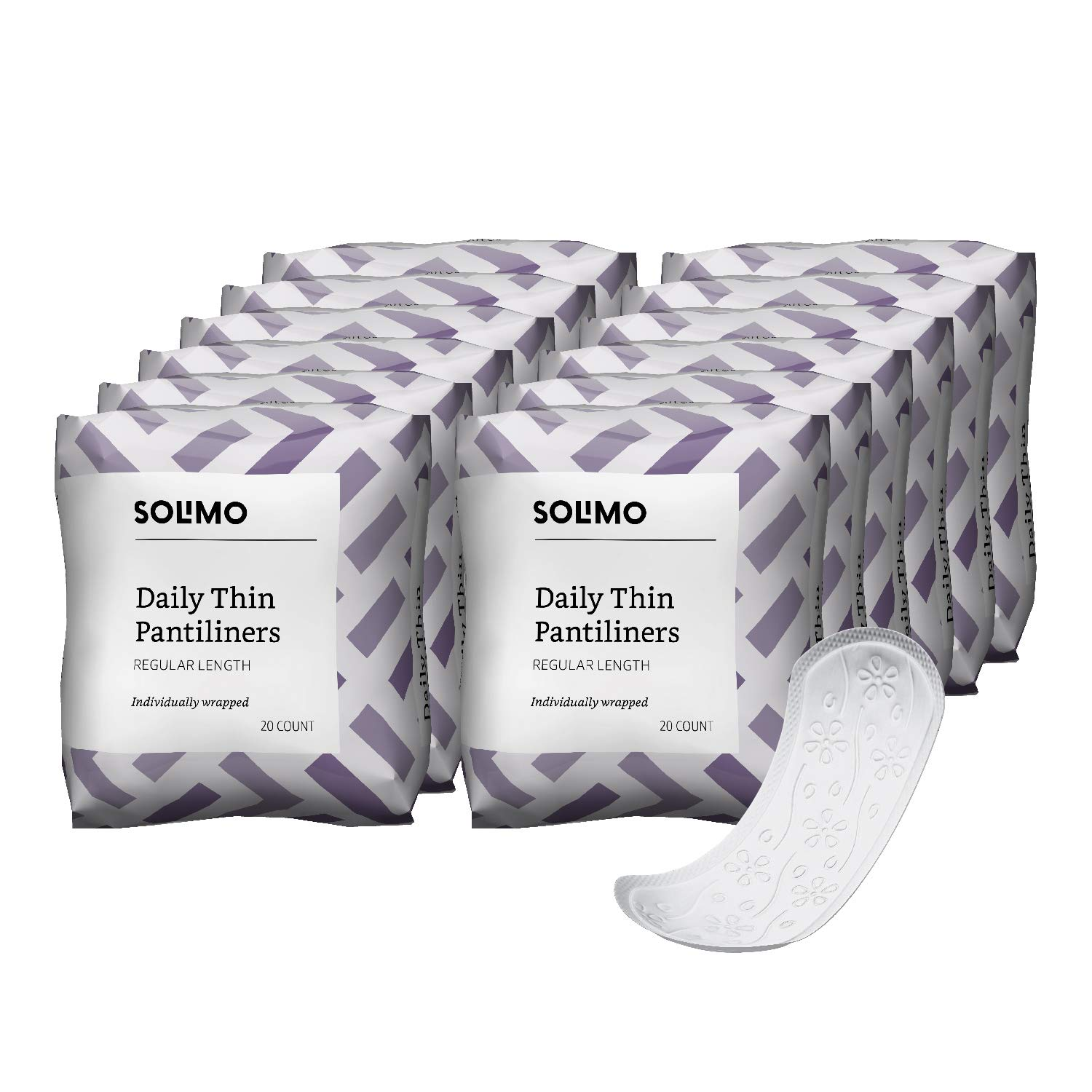 Amazon Brand - Solimo Thin Pantiliners, Regular Length, Unscented, 240 Count