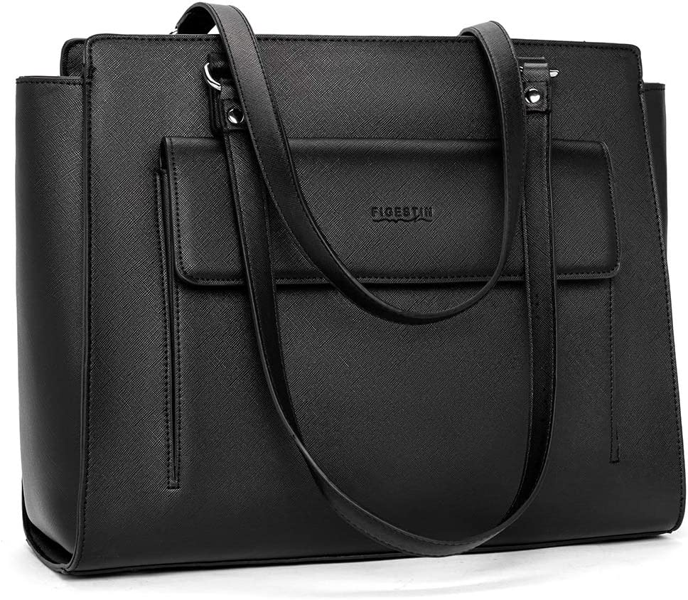FIGESTIN Laptop Tote Bag for Women PU Leather Business Office Work Bag Briefcase 14 inch Computer bag Shoulder Handbags Purse Black